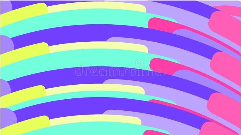Простая предпосылка от minimalistic пестротканых геометрических диаграмм, овалов с округленными углами аранжировала в форме радуг иллюстрация вектора