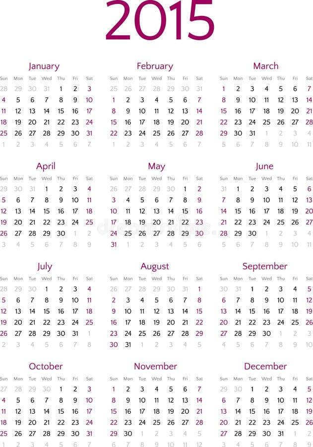 Простая решетка вектора календаря 2015 год бесплатная иллюстрация