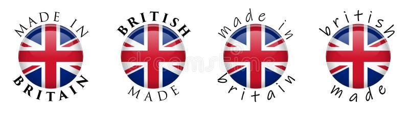 Простая сделанная в Британии/великобританском знаке кнопки 3D Текст вокруг cir иллюстрация вектора