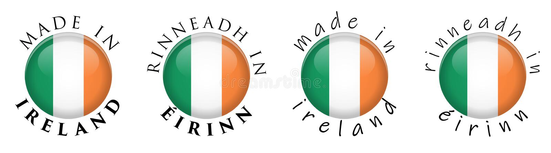 Простая сделанная в Ирландии Rinneadh в переводе 3 Eirinn ирландском иллюстрация вектора