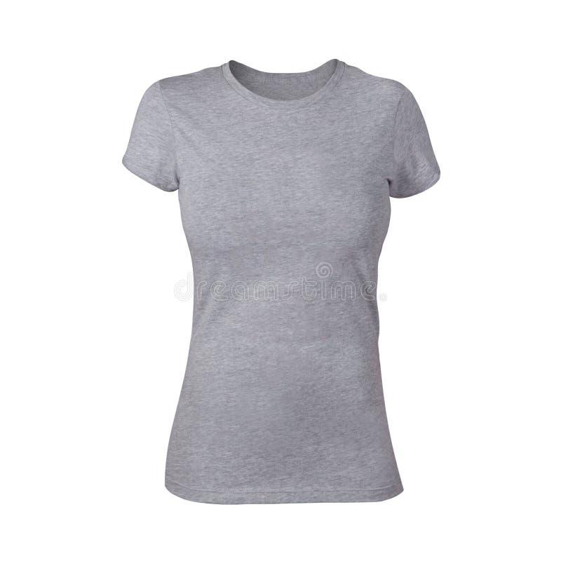Простая серая рубашка женщины стоковое фото