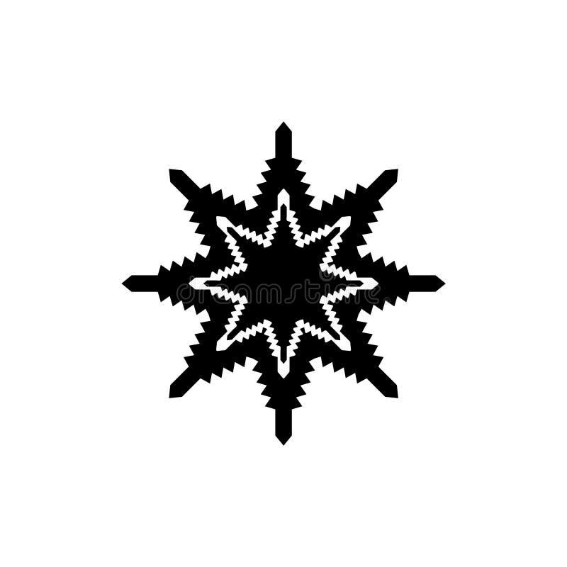 Простая снежинка в черноте над белой предпосылкой Плоский значок дизайна иллюстрация вектора