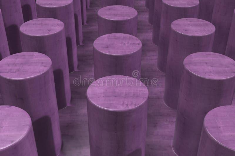 Простая фиолетовая деревянная поверхность с цилиндрами иллюстрация вектора