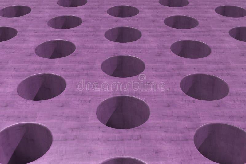 Простая фиолетовая деревянная поверхность с цилиндрическими отверстиями иллюстрация штока