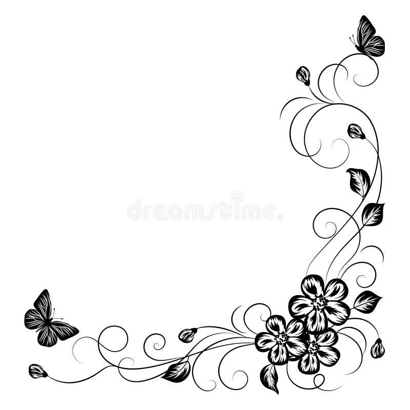 Простая флористическая предпосылка в черно-белом бесплатная иллюстрация