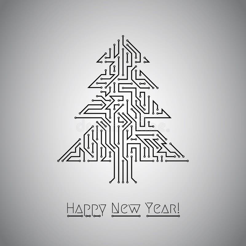 Простая цифровая рождественская елка, вектор иллюстрация вектора