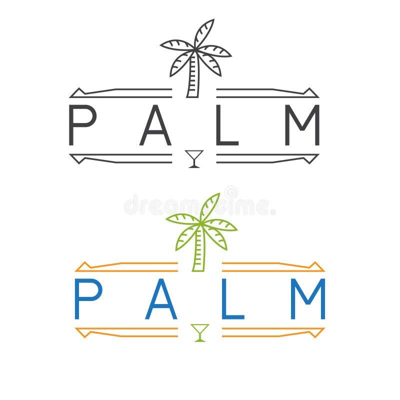Простая эмблема ресторана с вектором ладони и стекла Мартини бесплатная иллюстрация