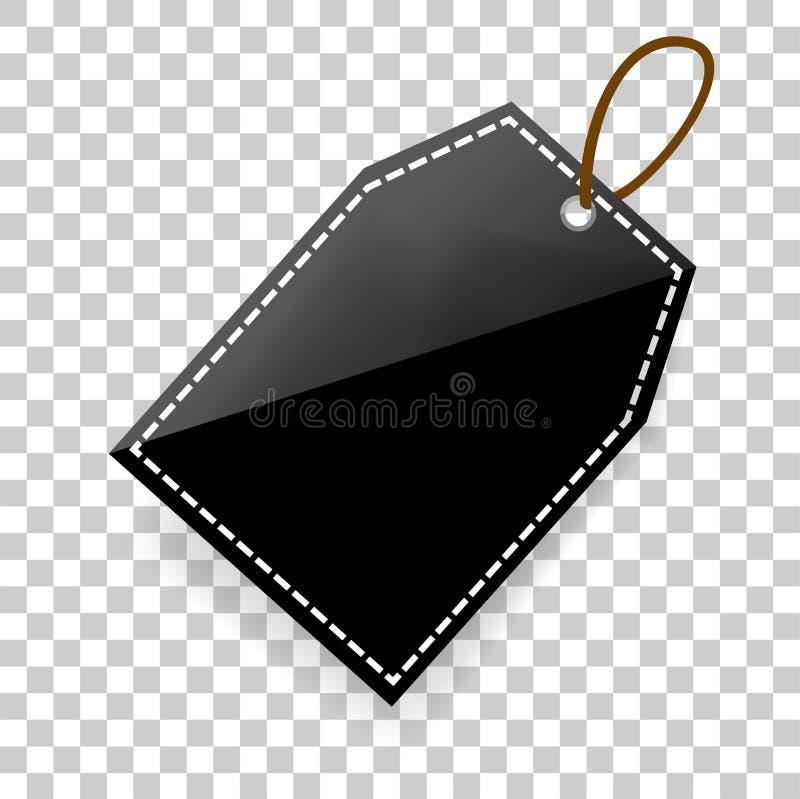 Простая shinning бирка прямоугольника пустая с мягкой тенью на прозрачной предпосылке влияния иллюстрация штока