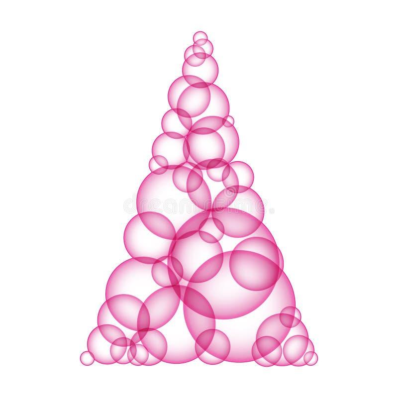 Простое дерево xmas пинка сделало пузыри формы иллюстрация вектора