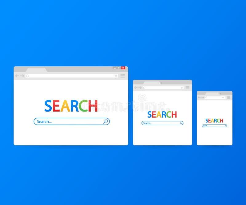 Простое окно браузера на голубой предпосылке Поиск браузера Браузер в плоском стиле также вектор иллюстрации притяжки corel иллюстрация вектора