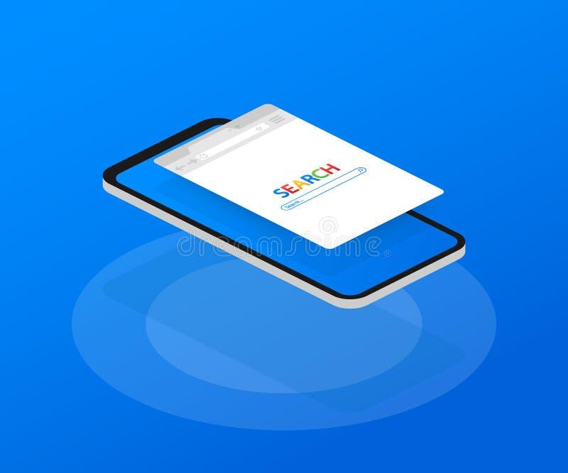 Простое окно браузера на смартфоне на голубой предпосылке Поиск браузера Браузер в плоском стиле также вектор иллюстрации притяжк иллюстрация штока