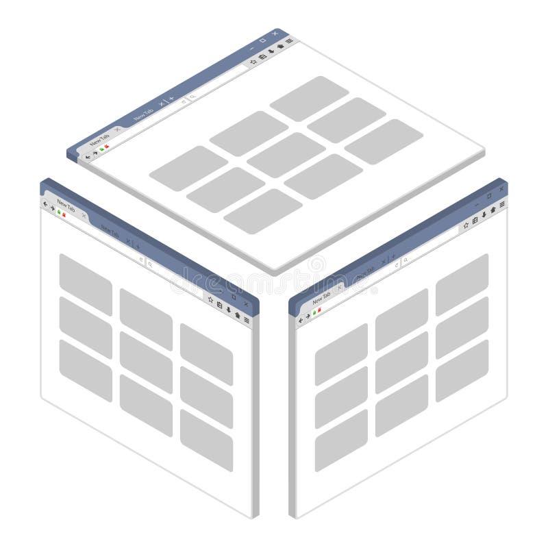 Простое равновеликое окно браузера на белой предпосылке бесплатная иллюстрация