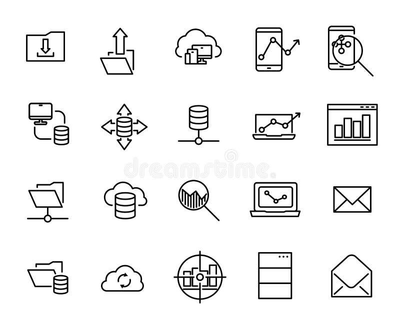 Простое собрание программируя родственной линии значков бесплатная иллюстрация