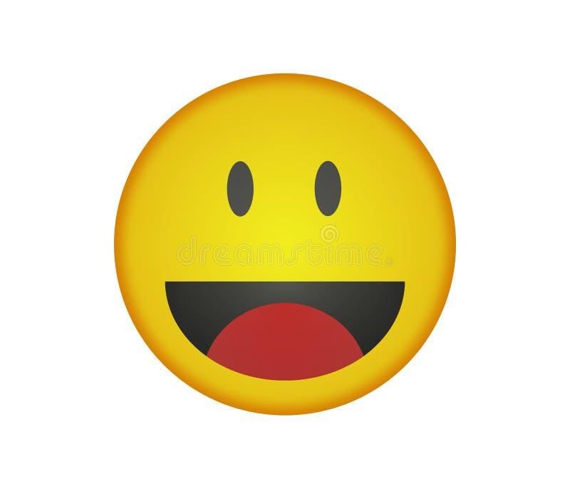 Простое emoji улыбки с желтым и оранжевым цветом иллюстрация штока