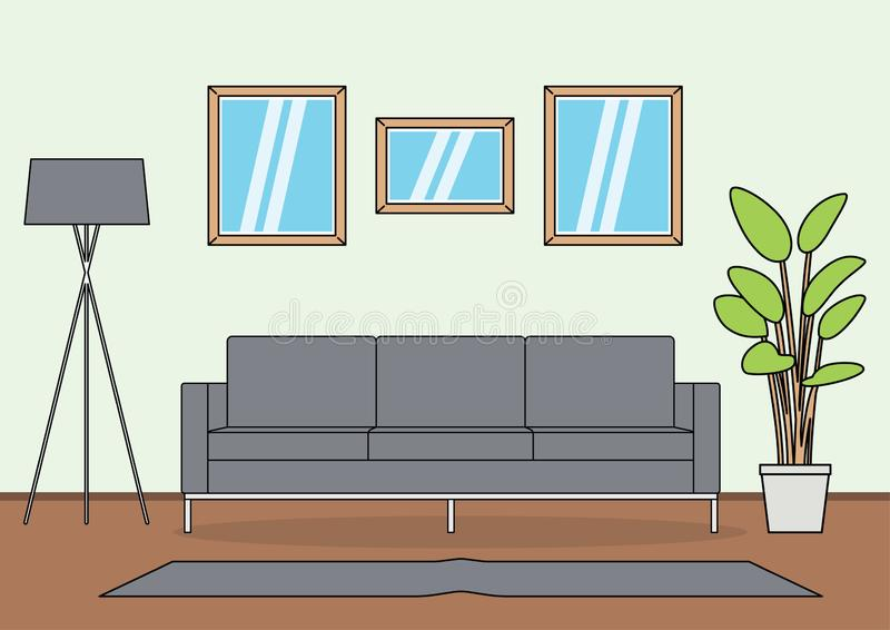 Простой вектор живущей комнаты иллюстрация вектора