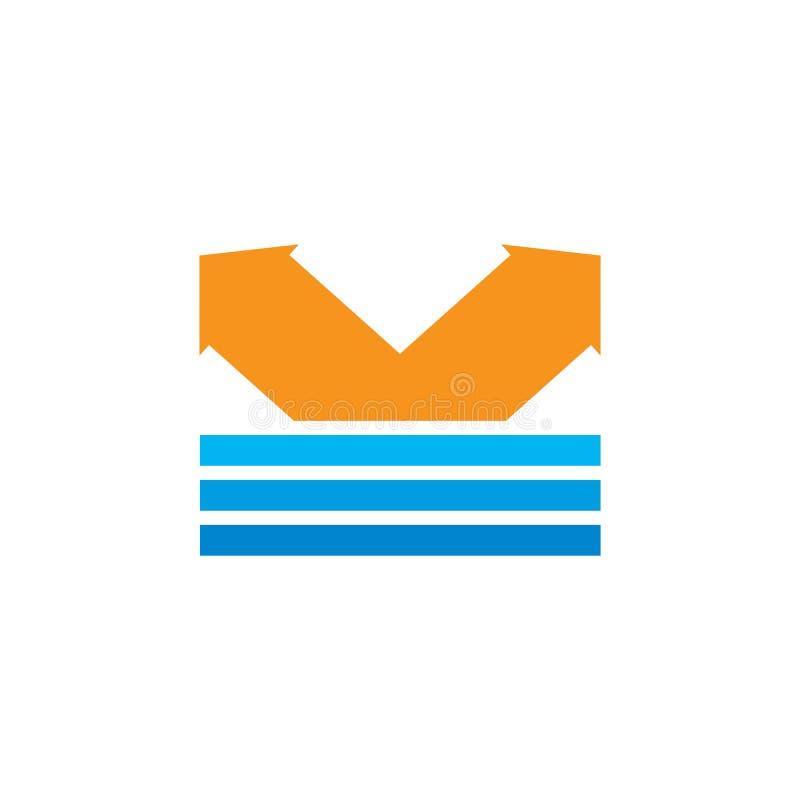 Простой геометрический вектор логотипа стрелки прыжка иллюстрация штока