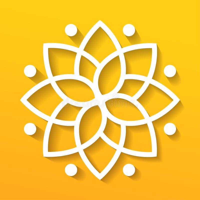 Простой геометрический логотип мандалы Круговой логотип для бутика, цветочного магазина, дела, внутреннего стоковые фото