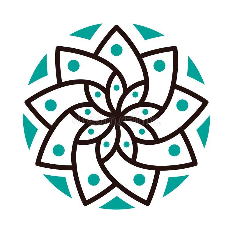 Простой геометрический логотип мандалы Круговой логотип для бутика, цветочного магазина, дела, внутреннего стоковые изображения rf