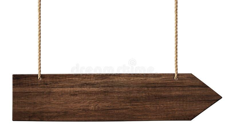 Простой деревянный указатель стрелки сделанный из темной древесины вися на веревочках иллюстрация вектора