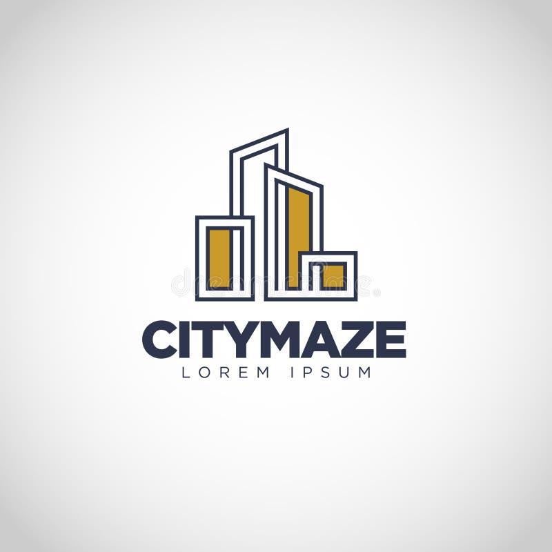Простой дизайн логотипа свойства лабиринта города иллюстрация вектора