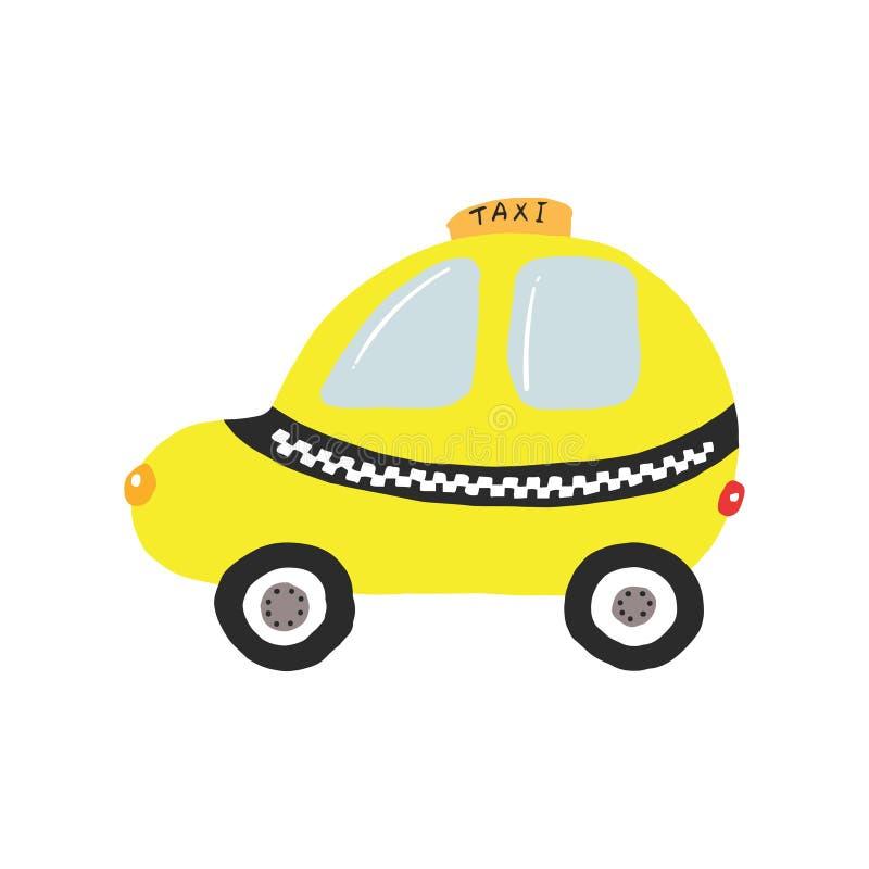 Простой желтый автомобиль такси стоковое фото rf