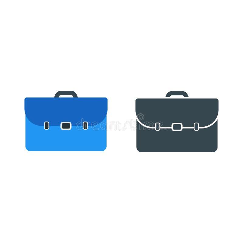 Простой значок вектора дела портфеля дела в сини и Bl иллюстрация вектора