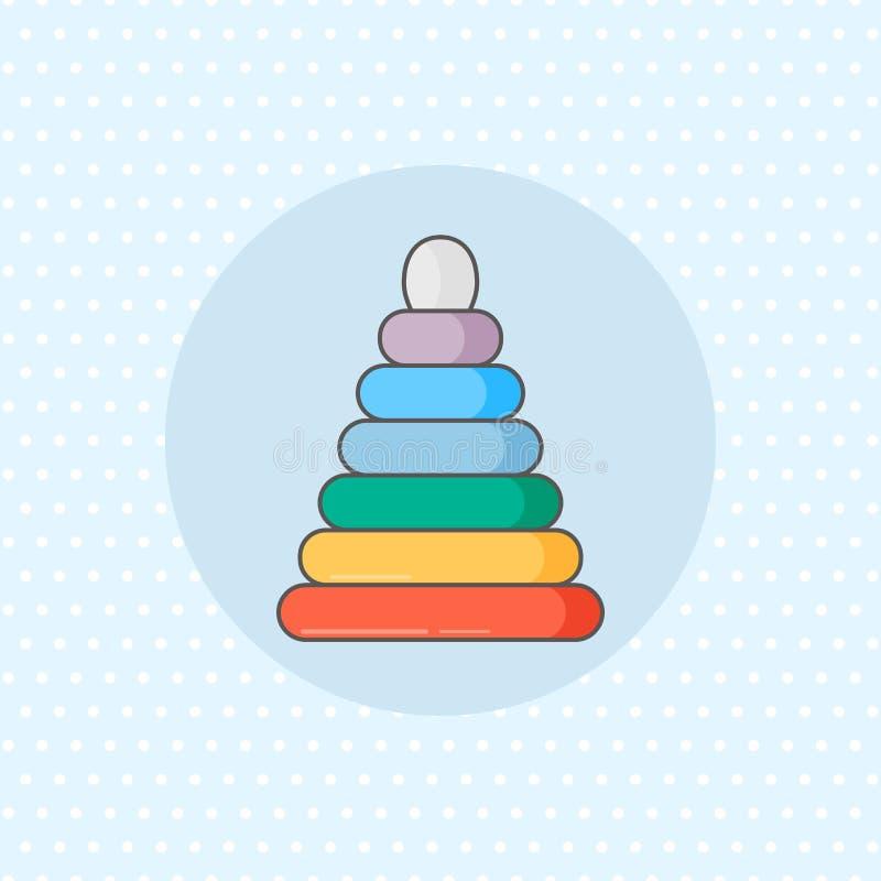 Простой значок вектора для штабелеукладчика кольца в цвете радуги на голубой предпосылке Плоский стиль бесплатная иллюстрация