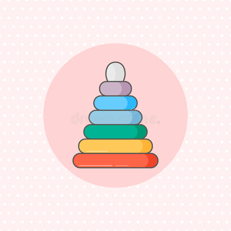Простой значок вектора для штабелеукладчика кольца в цвете радуги на розовой предпосылке Плоский стиль бесплатная иллюстрация