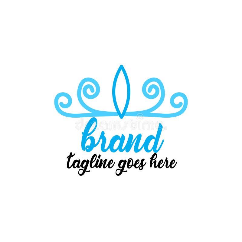 Простой и привлекательный голубой логотип кроны иллюстрация вектора