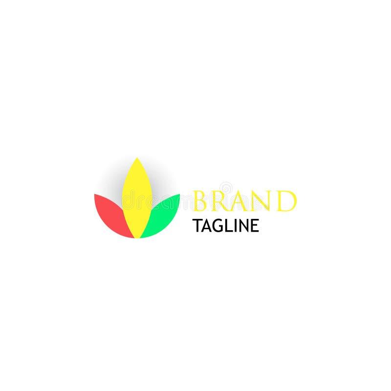 Простой и привлекательный логотип лист 3-цвета иллюстрация штока