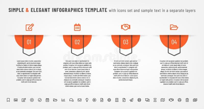 Простой и элегантный шаблон infographics с набором значков иллюстрация штока