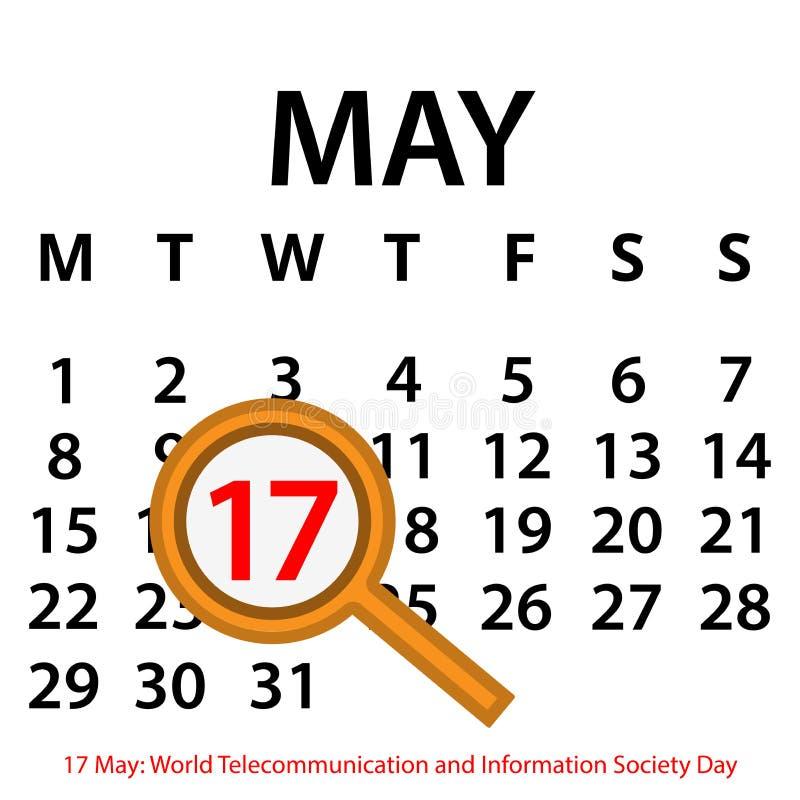 Простой календарь вектора 17-ое мая Чествуйте день радиосвязи и информационного общества мира иллюстрация штока