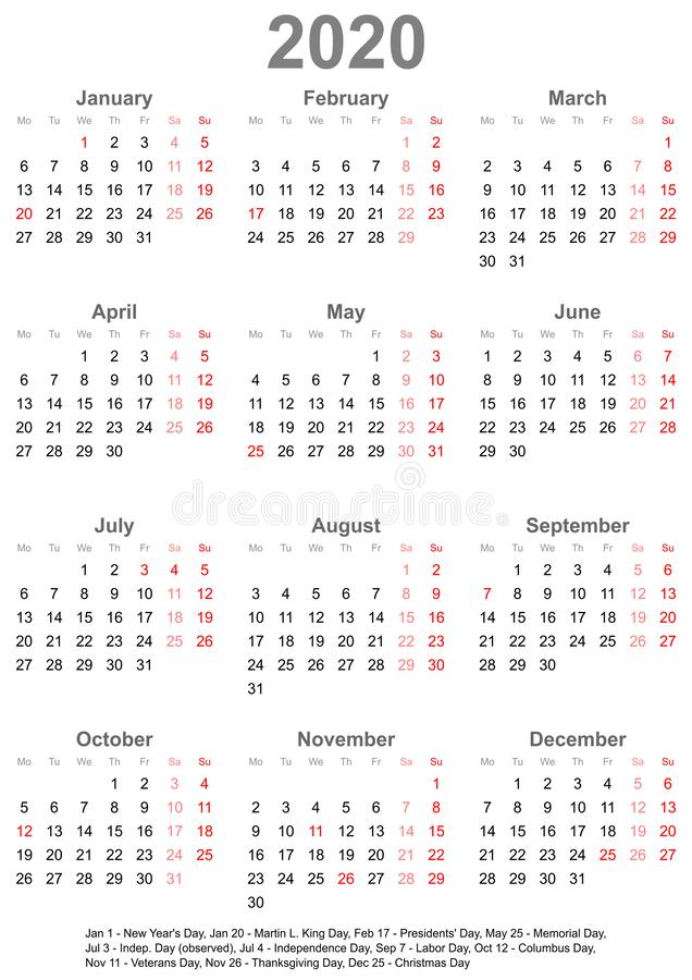Простой календарь 2020 с праздничными днями для США иллюстрация вектора