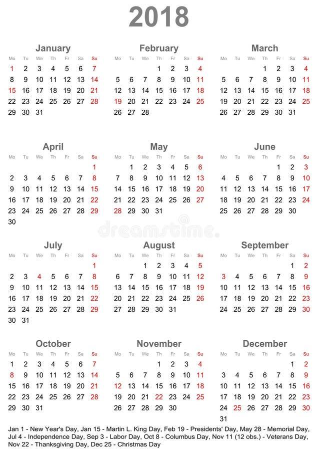 Простой календарь 2018 с праздничными днями для США иллюстрация штока