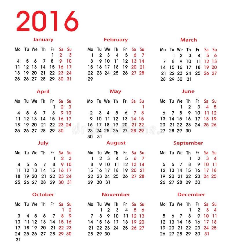 Простой календарь 2016 иллюстрация вектора