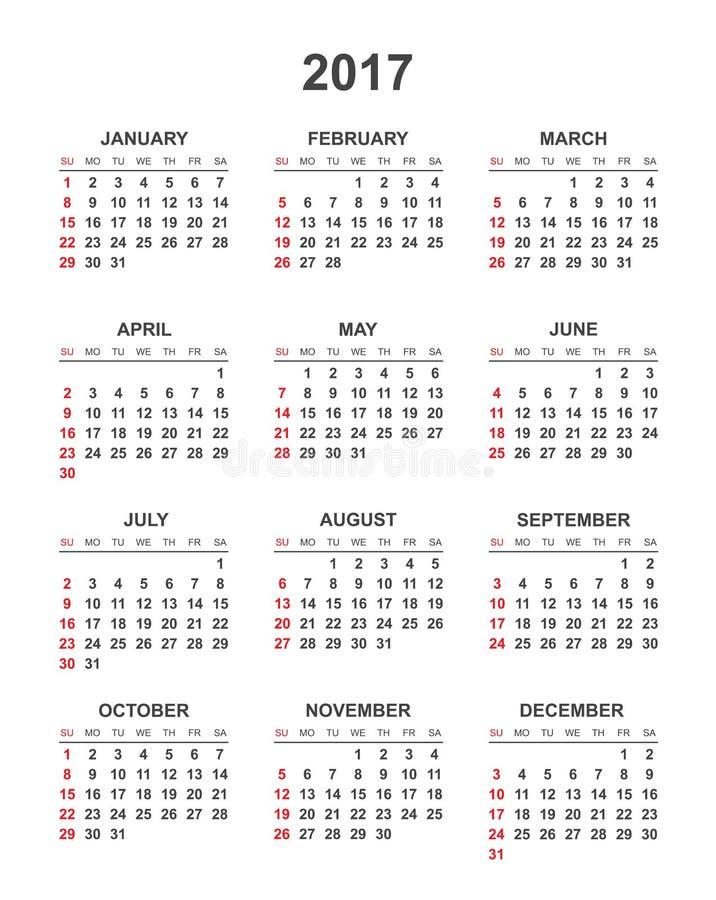 Простой календарь 2017 иллюстрация вектора