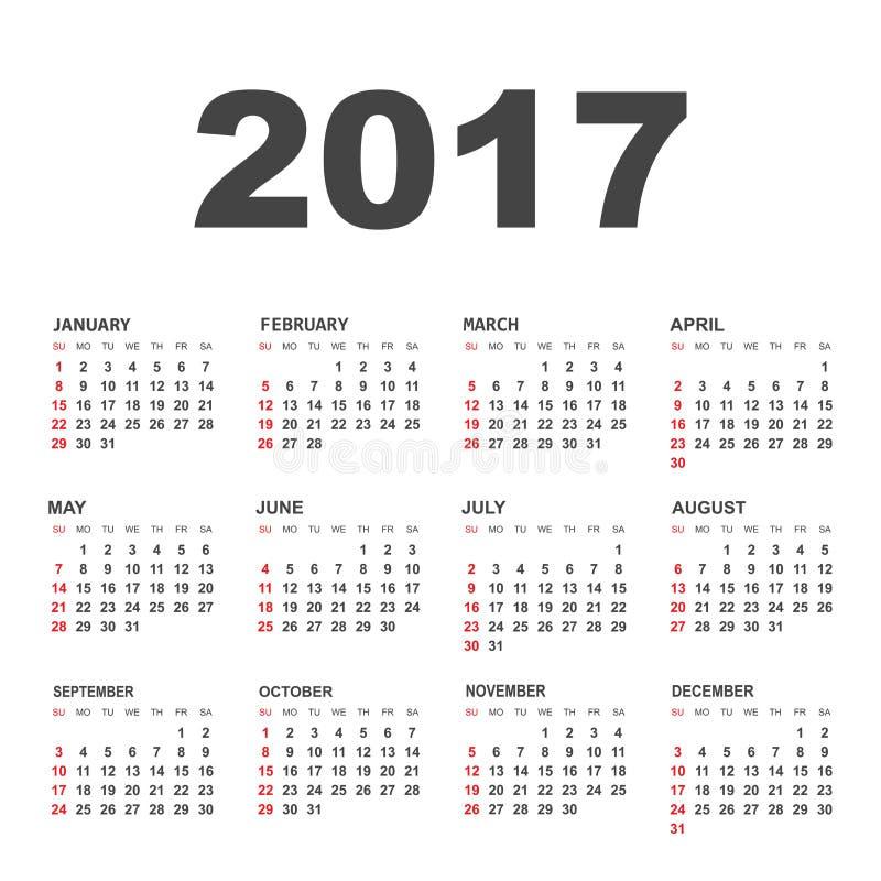 Простой календарь 2017 иллюстрация штока