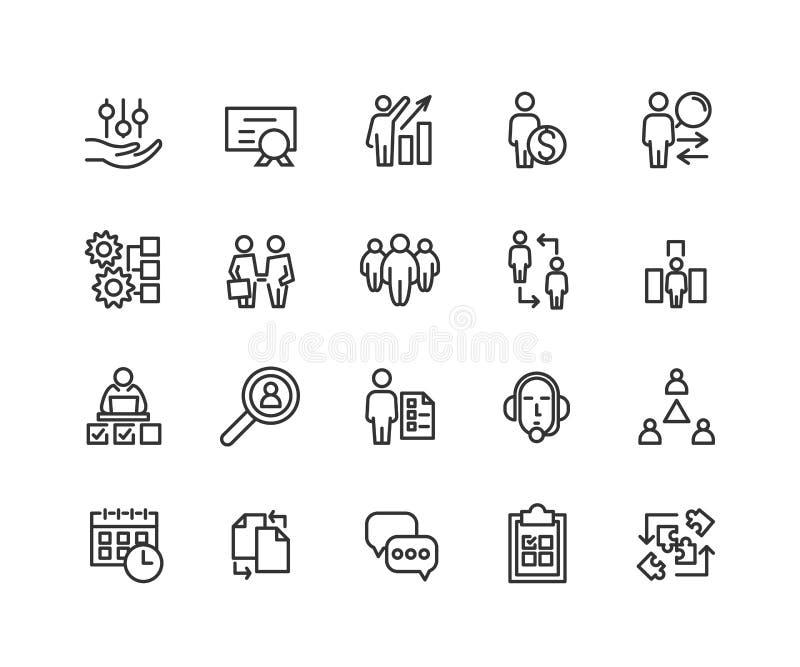 Простой комплект линии значков вектора руководства бизнесом родственной Содержит такие значки как индивидуальная встреча, поддерж бесплатная иллюстрация