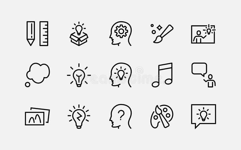 Простой комплект линии значков вектора творческих способностей родственной Содержит такие значки как воодушевленность, идея, мозг иллюстрация вектора