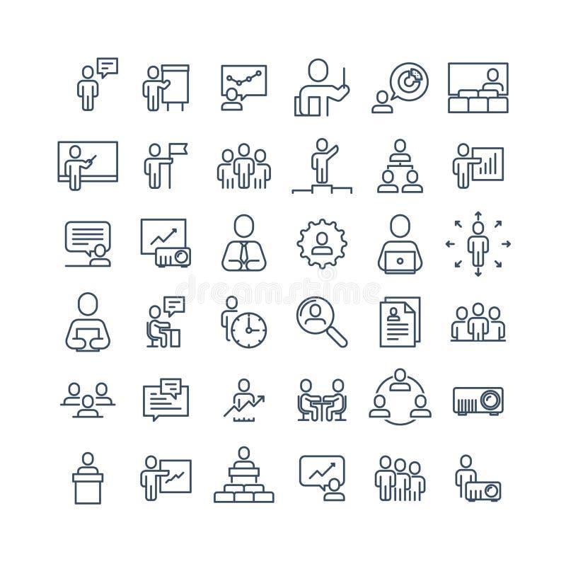 Простой комплект родственной бизнесменов линии значков вектора Содержит такие значки как индивидуальная встреча, рабочее место, д иллюстрация штока