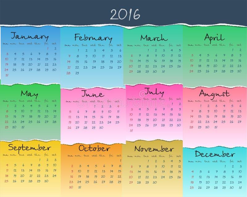 Простой красочный календарь на 2016 Неделя начинает воскресенье иллюстрация штока