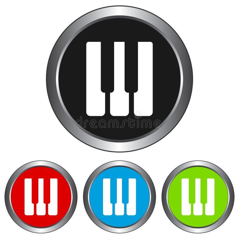 Простой, круговой, металлический рояль пользуется ключом значок 4 изменения цвета Изолировано на белизне иллюстрация штока