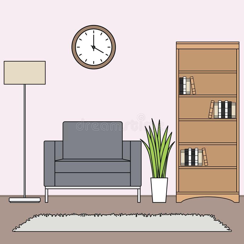 Простой минималистский вектор живущей комнаты иллюстрация вектора