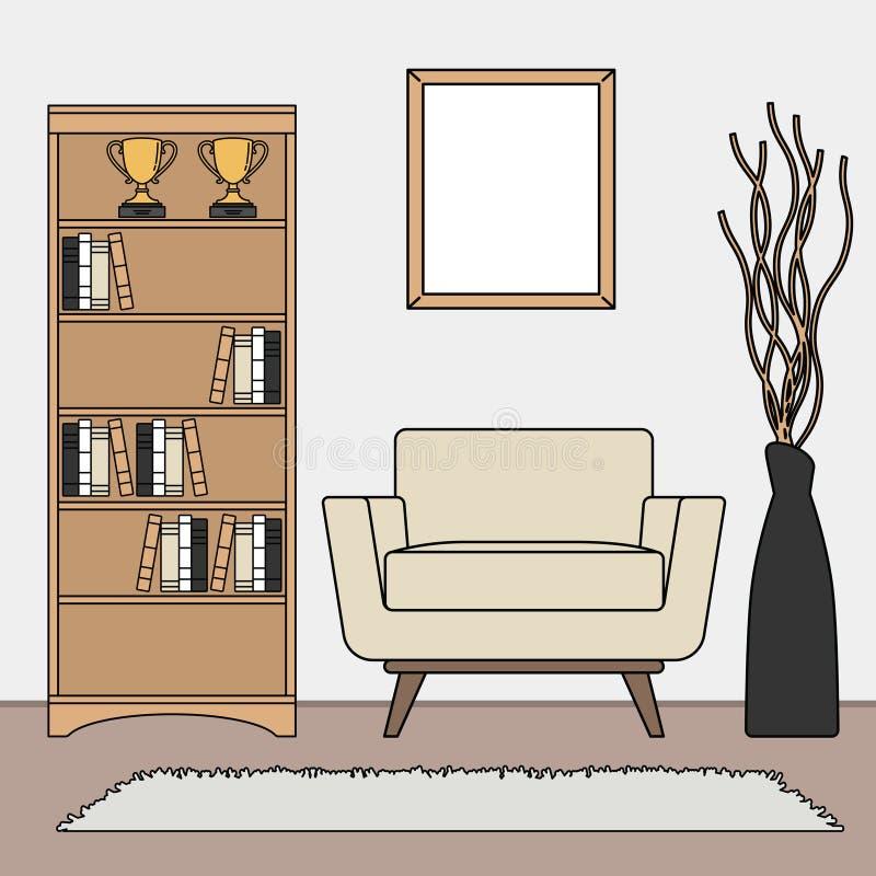 Простой минималистский шаблон наборов живущей комнаты иллюстрация вектора