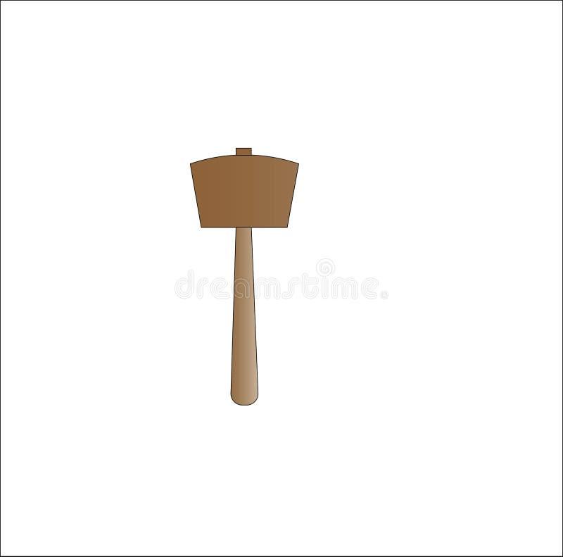 Простой молоток сделанный из древесины иллюстрация штока