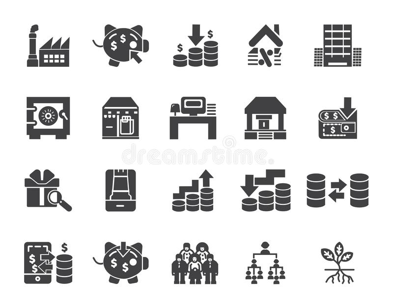 Простой набор значков вектора финансов денег родственных Значки Editable хода идеальные для мобильных концепций и приложений сети иллюстрация штока