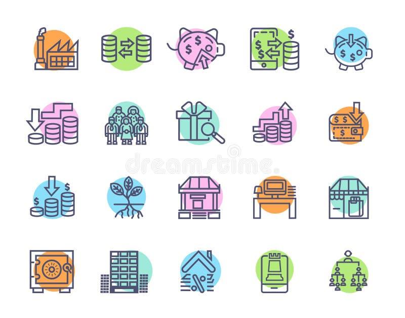 Простой набор значков вектора финансов денег родственных Значки Editable хода идеальные для мобильных концепций и приложений сети иллюстрация вектора