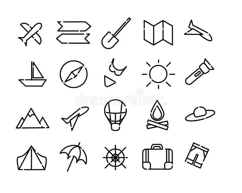 Простой набор значков перемещения Черные пунктирные линии на белой предпосылке Карта, солнце, самолет, пляж, compas и больше иллюстрация штока