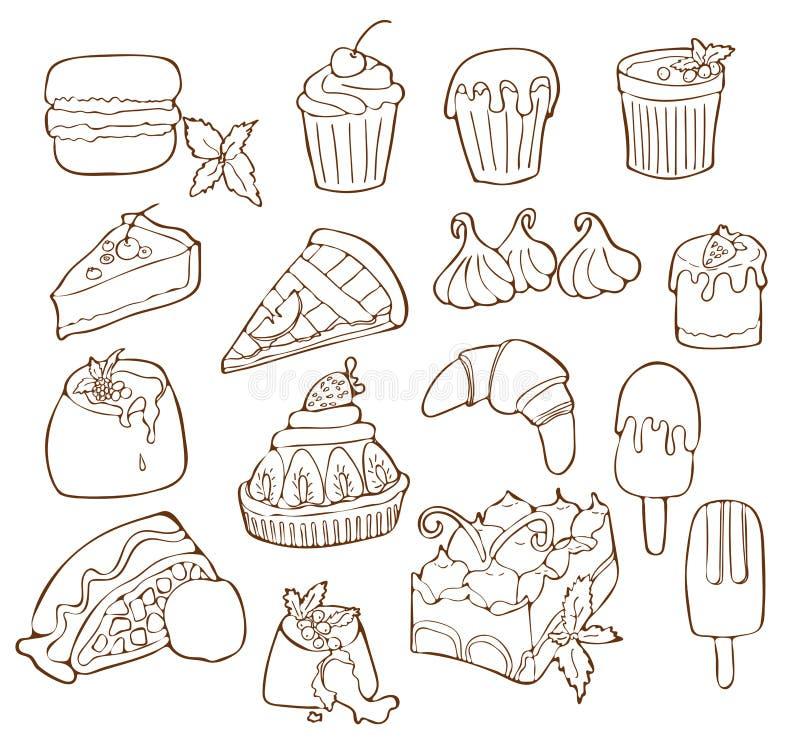 Простой набор линии значков вектора десерта родственной Изолированная иллюстрация шаржа иллюстрация вектора