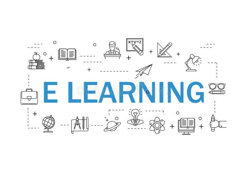 Простой набор линии значков вектора онлайн образования родственной Содержит такие значки как видео- консультация, EBook, On-line  иллюстрация штока